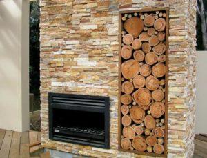 сочетание дерева и камня в интерьере
