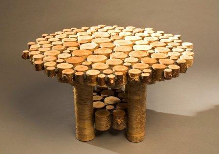стол из деревянных спилов своими руками