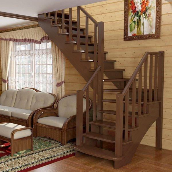 Деревянная лестница 90 градусов поворот пример