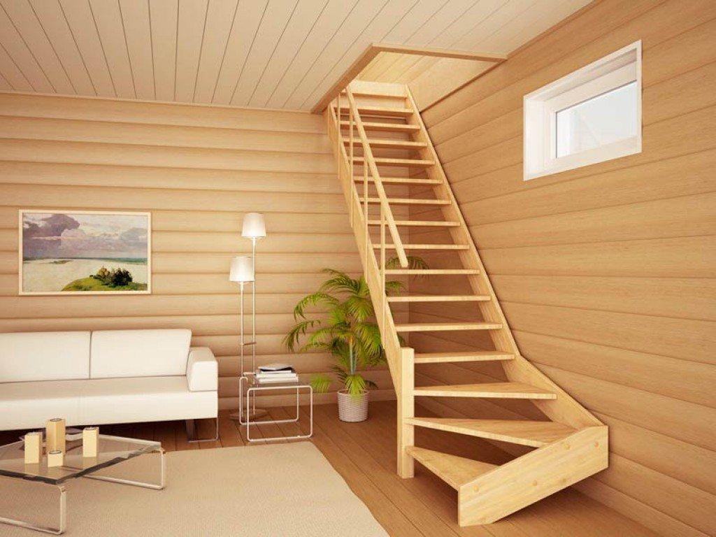 Поворотная деревянная лестница фото