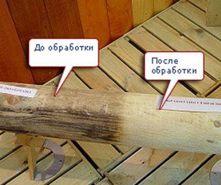 Пораженная древесина до и после обработки