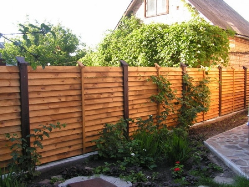 Деревянный забор на садовом участке
