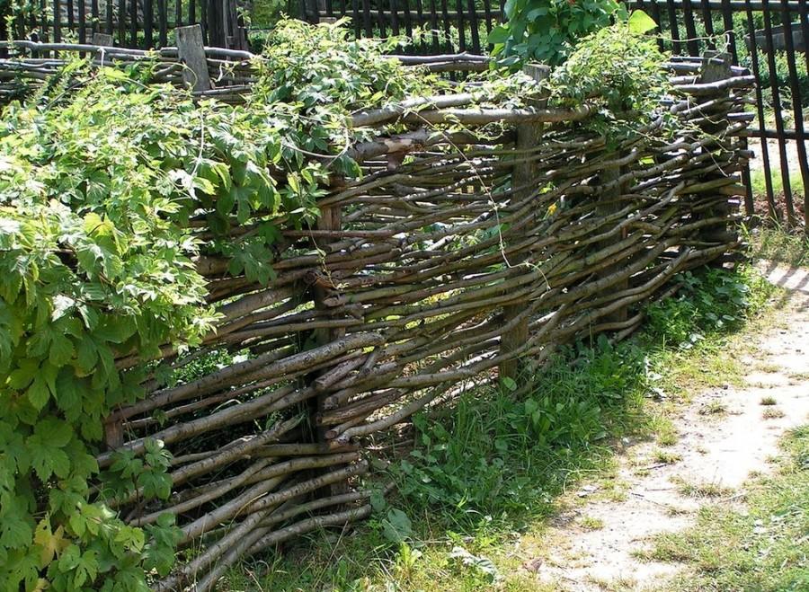 Деревянный забор плетень