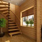 Как поставить винтовую лестницу в доме из натурального дерева