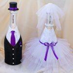 Как сделать свадебную бутылку невеста