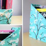 Газетница с плотного картона и ткани