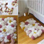 Как сшить теплый коврик с длинным ворсом из мягких помпонов