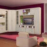 Маленькая стенка в гостиную с нишей под телевизор из обычной фанеры