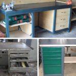 Самодельный стол с выдвижными ящиками из фанерного листа