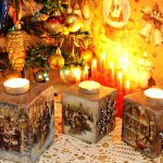 Самодельные подсвечники из гипса, украшенные ручной росписью