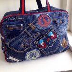 Дорожная сумка из старой джинсовой одежды