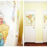 Как декорировать створки шкафа с помощью распечатанной карты мира: модный акцент своими руками