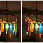 Светильник в стиле лофт из старого поддона и стеклянной бутыли
