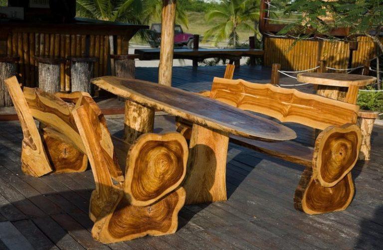 Мебель для дачи из бревна своими руками 47